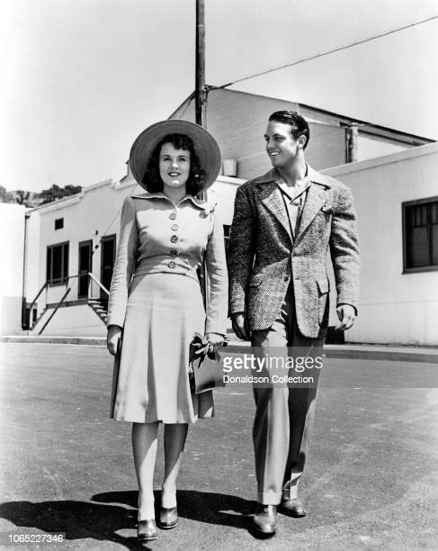 Actress Deanna Durbin and Robert Stack in a scene from the movie First Love