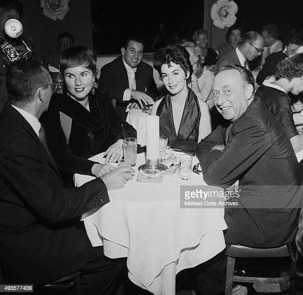 Actress Deanna Durbin her husband Charles David with Dorothy and Joseph Pasternak at dinner at Mocambo's in Los Angeles California