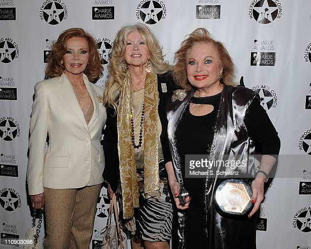 Actress Deanna Lund actress Connie Stevens and composer Carol Connors pose during the Hollywood Arts Council's 25th Annual Charlie Awards Luncheon at...