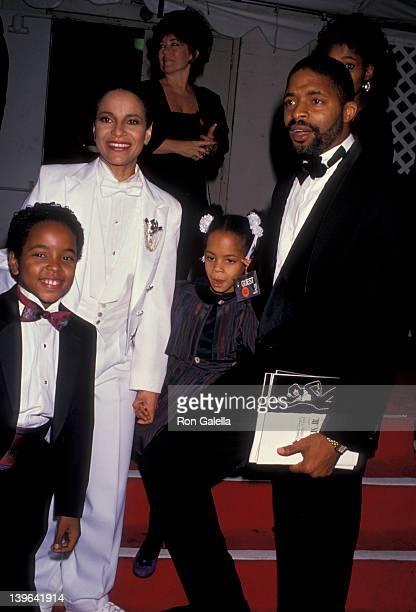 Actress Debbie Allen husband Norman Nixon daughter Vivian Nixon and son Norman Nixon Jr attenidng Salute To Sammy on November 13 1989 at the Shrine...
