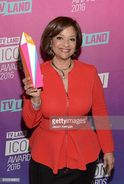 Actress Debbie Allen poses backstage with an Icon Award at 2016 TV Land Icon Awards at The Barker Hanger on April 10 2016 in Santa Monica California
