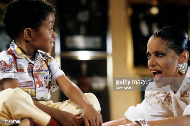 Actress Debbie Allen with Emmanuel Lewis on a set on March 31986 in New York New York