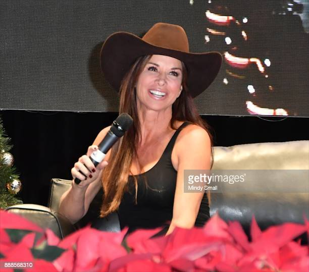 Actress Debbie Dunning speaks onstage during the Outside the Barrel with Flint Rasmussen show during the National Finals Rodeo's Cowboy Christmas at...