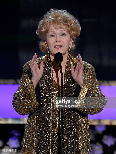 Actress Debbie Reynolds accepts the Life Achievement Award onstage at the 21st Annual Screen Actors Guild Awards at The Shrine Auditorium on January...