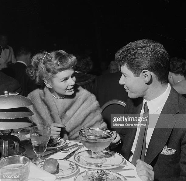 Actress Debbie Reynolds and Eddie Fisher at the Cocoanut Grove in Los AngelesCA