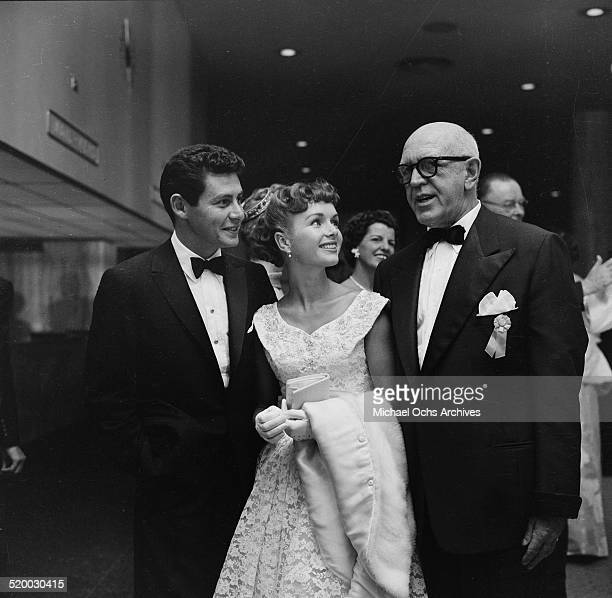 Actress Debbie Reynolds and Eddie Fisher attend a party at the Hilton Hotel in Los Angeles,CA.
