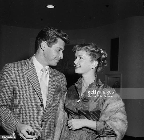 Actress Debbie Reynolds and Eddie Fisher attend a party in Los Angeles,CA.