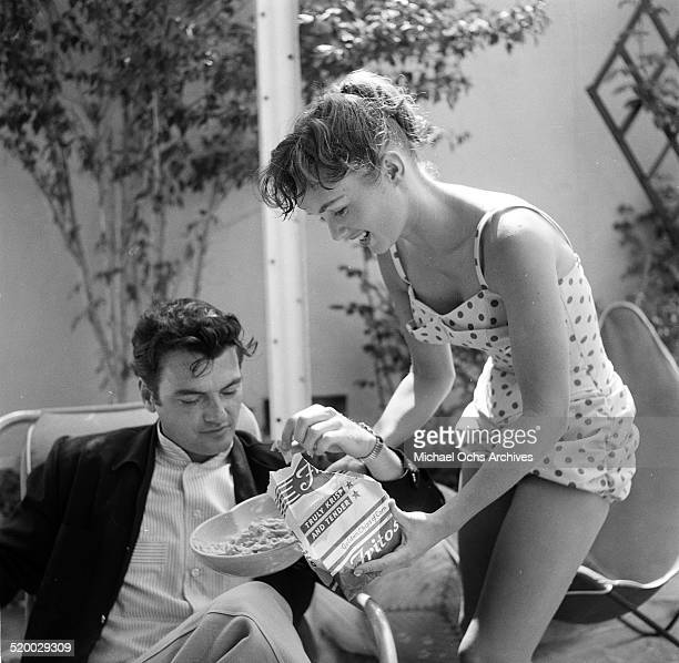 Actress Debbie Reynolds entertains guest at her pool party in Los AngelesCA