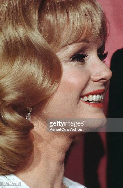 Actress Debbie Reynolds poses backstage during the 46th Academy Awards at Dorothy Chandler Pavilion in Los AngelesCalifornia