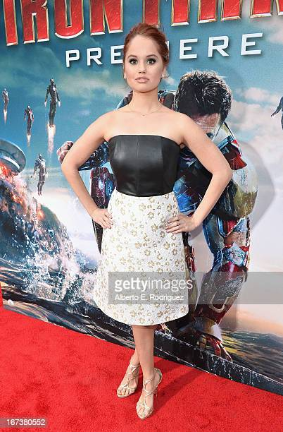 Actress Debby Ryan attends Marvel's' Iron Man 3 Premiere at the El Capitan Theatre on April 24 2013 in Hollywood California