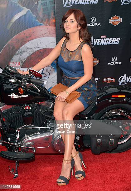 """Actress Debby Ryan attends the Los Angeles premiere of """"Marvel's Avengers"""" at the El Capitan Theatre on April 11, 2012 in Hollywood, California."""