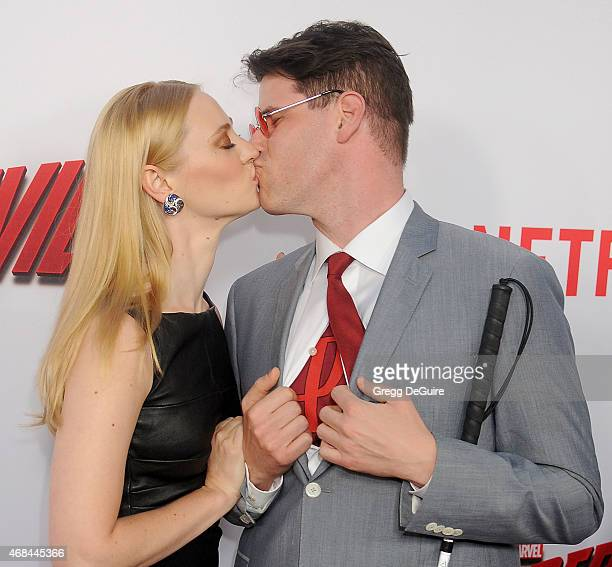 "Actress Deborah Ann Woll and E.J. Scott arrive at the premiere Of Netflix's ""Marvel's Daredevil"" at Regal Cinemas L.A. Live on April 2, 2015 in Los..."