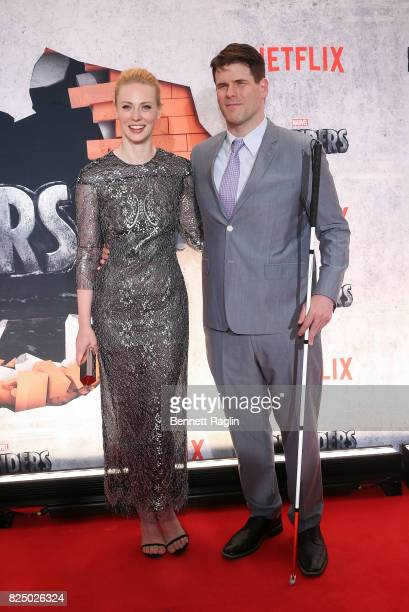 Actress Deborah Ann Woll and EJ Scott attend the Marvel's The Defenders New York premiere at Tribeca Performing Arts Center on July 31 2017 in New...