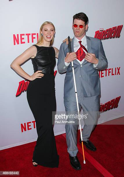 Actress Deborah Ann Woll and EJ Scott attend the premiere of 'Marvel's Daredevil' at Regal Cinemas LA Live on April 2 2015 in Los Angeles California