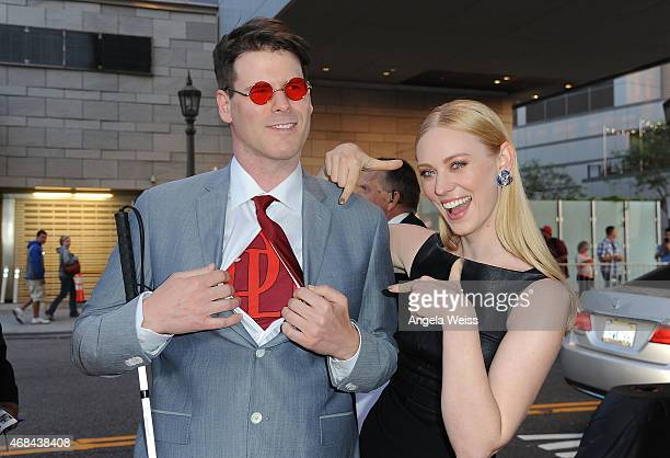 Actress Deborah Ann Woll and EJ Scott attend the Premiere of Netflix's Marvel's Daredevil at Regal Cinemas LA Live on April 2 2015 in Los Angeles...