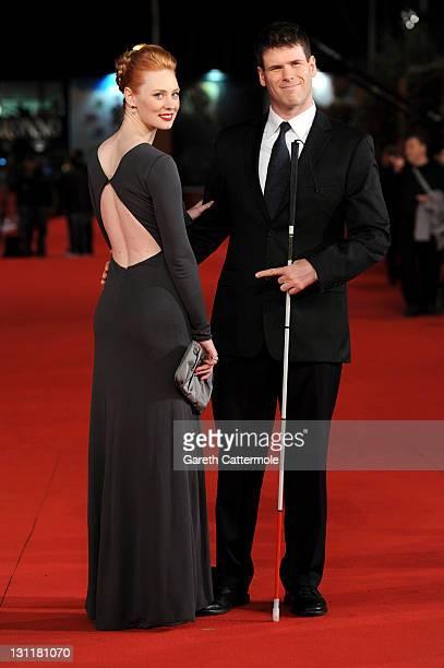 Actress Deborah Ann Woll and EJ Scott attend the Un Giorno Questo Dolore Ti Sara Utile Premiere during the 6th International Rome Film Festival on...