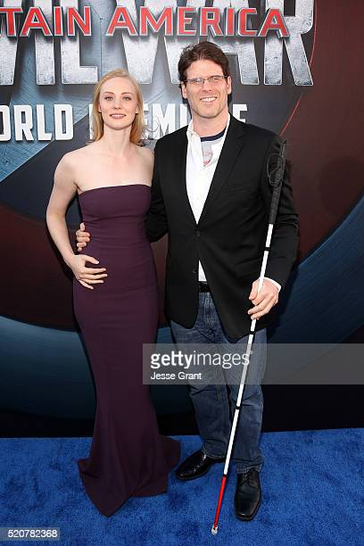 Actress Deborah Ann Woll and EJ Scott attend The World Premiere of Marvel's Captain America Civil War at Dolby Theatre on April 12 2016 in Los...