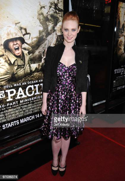 Actress Deborah Ann Woll arrives at HBO's premiere of The Pacific held at Grauman's Chinese Theatre on February 24 2010 in Hollywood California