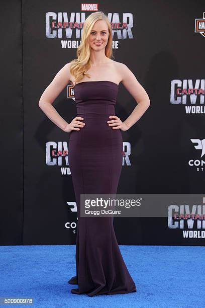 "Actress Deborah Ann Woll arrives at the premiere of Marvel's ""Captain America: Civil War"" on April 12, 2016 in Hollywood, California."