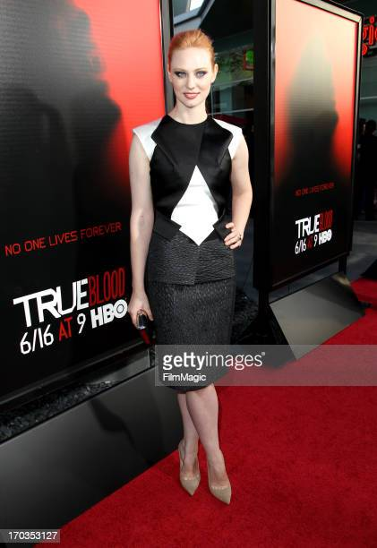"Actress Deborah Ann Woll attends HBO's ""True Blood"" season 6 premiere at ArcLight Cinemas Cinerama Dome on June 11, 2013 in Hollywood, California."