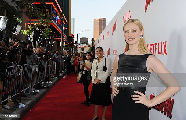 "Actress Deborah Ann Woll attends the Premiere of Netflix's ""Marvel's Daredevil"" at Regal Cinemas L.A. Live on April 2, 2015 in Los Angeles,..."
