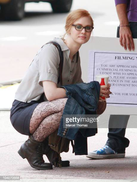 Actress Deborah Ann Woll is seen on the set of the movie 'Someday This Pain Will Be Useful To You' on September 13 2010 in New York New York