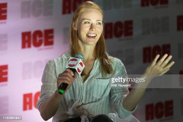 "Actress Deborah Ann Woll speaks onstage about new Dungeons & Dragons show, ""Relics and Rarities"" during ACE Comic Con at Century Link Field Event..."