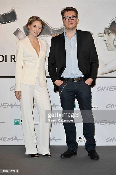 Actress Deborah Francois and director Regis Roinsard attend the 'Populaire' Photocall during the 7th Rome Film Festival at the Auditorium Parco Della...