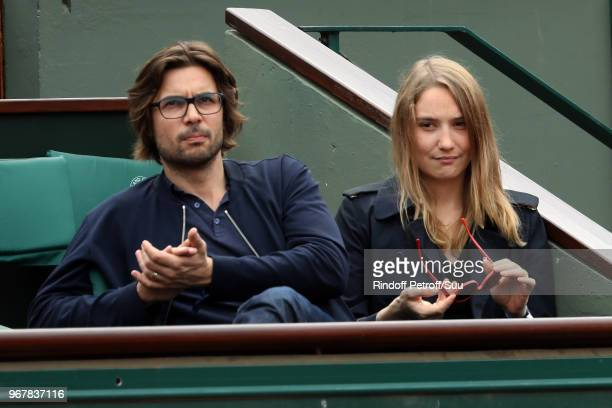 Actress Deborah franois and her companion Victor attend the 2018 French Open Day Ten at Roland Garros on June 5 2018 in Paris France