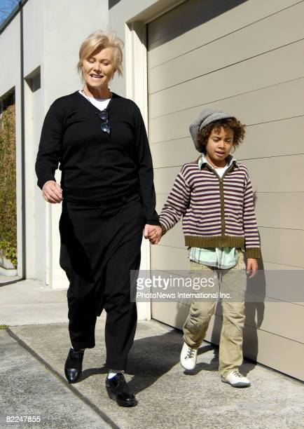 Actress DeborahLee Furness pictured with son Oscar Maximilian Jackman visit the Darling Point home of actress Nicole Kidman and Keith Urban to meet...