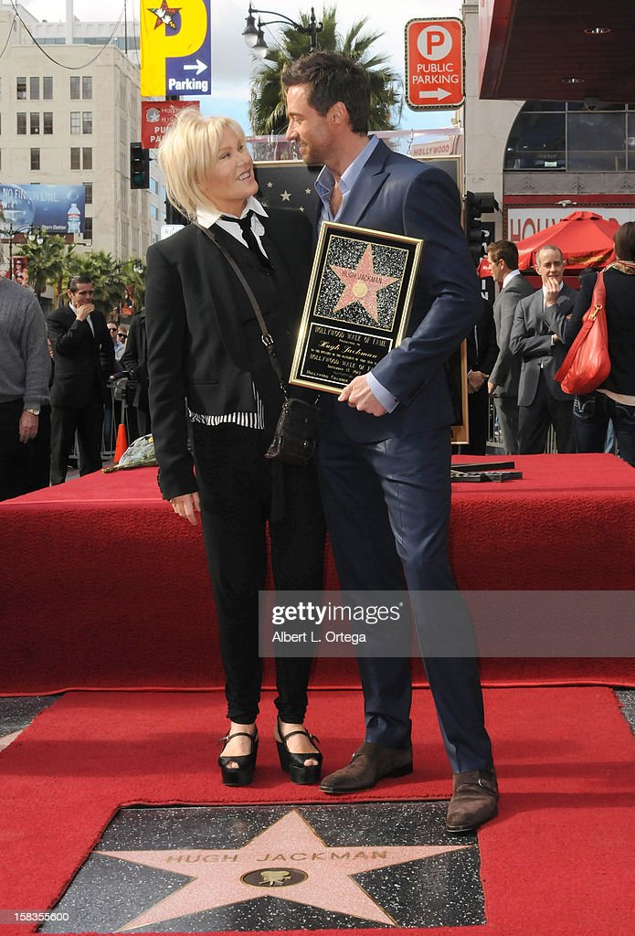 Actress Deborra-Lee Furness and actor Hugh Jackman participate in the Hugh Jackman Star ceremony at The Hollywood Walk Of Fame on December 13, 2012 in Hollywood, California.
