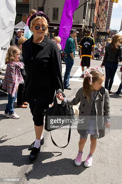 Actress DeborraLee Furness and daughter Ava Eliot Jackman attend the Family Festival Street Fair during the 10th annual Tribeca Film Festival at...