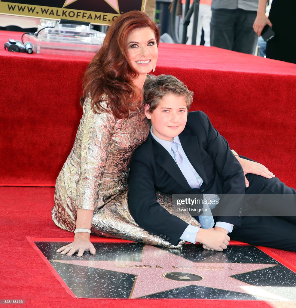 Actress Debra Messing (L) and son Roman Walker Zelman attend her being honored with a Star on the Hollywood Walk of Fame on October 6, 2017 in Hollywood, California.