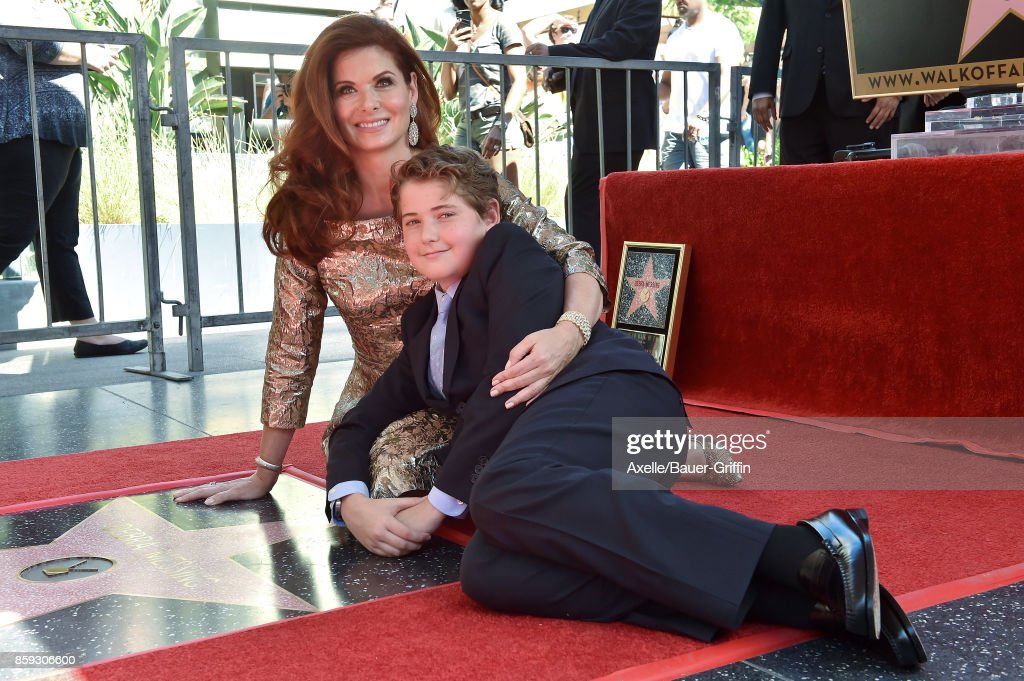 Actress Debra Messing and son Roman Walker Zelman attend the ceremony honoring Debra Messing with star on the Hollywood Walk of Fame on October 6, 2017 in Hollywood, California.