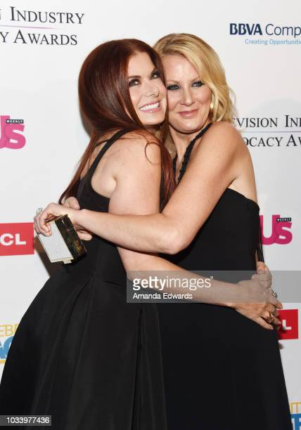Actress Debra Messing and television chef Sandra Lee arrive at 2018 Television Advocacy Awards Benefiting The Creative Coalition at the Sofitel Los...