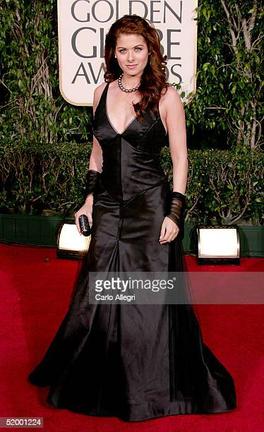 Actress Debra Messing arrives to the 62nd Annual Golden Globe Awards at the Beverly Hilton Hotel January 16 2005 in Beverly Hills California