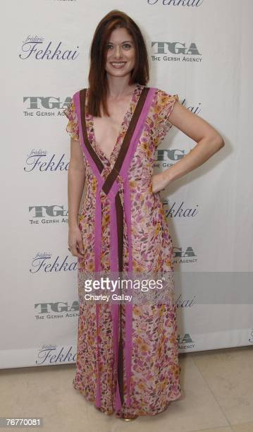 Actress Debra Messing attends the Gersh Agency preEmmy party cohosted by hairstylist Frederic Fekkai at The Terrace at the Sunset Tower Hotel on...