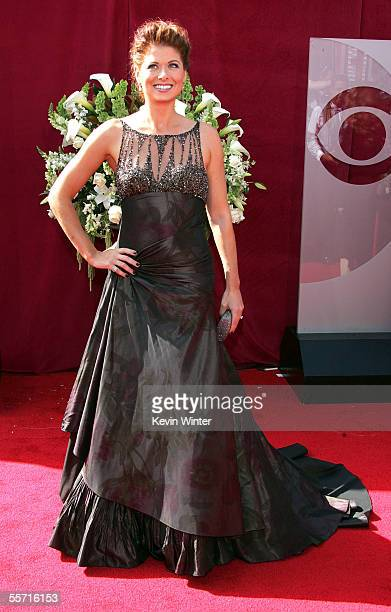 """Actress Debra Messing from the nominated NBC comedy """"Will & Grace"""" arrives at the 57th Annual Emmy Awards held at the Shrine Auditorium on September..."""