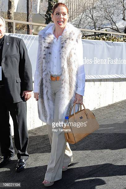 Actress Debra Messing leaves the Fashion Week tents at Lincoln Center's Damrosch Park on February 16 2011 in New York City