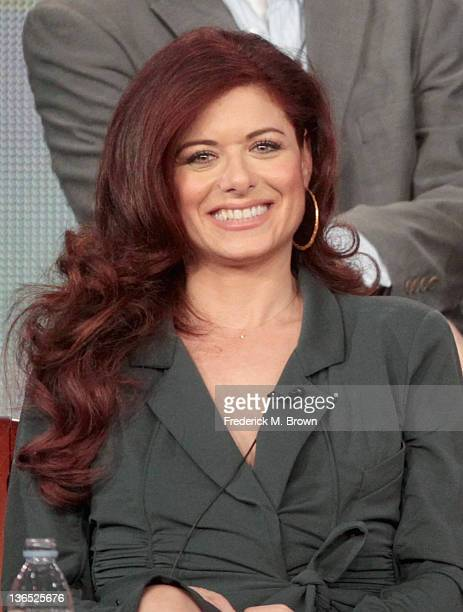 Actress Debra Messing speaks onstage during the Smash panel during the NBCUniversal portion of the 2012 Winter TCA Tour at The Langham Huntington...