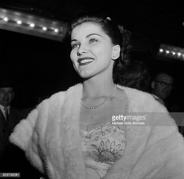 """Actress Debra Paget attends the movie premiere of """"Fixed Bayonets!"""" in Los Angeles,CA."""