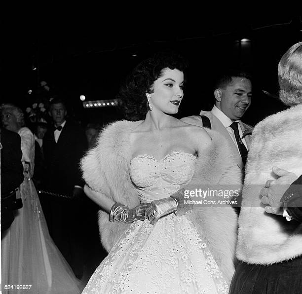 Actress Debra Paget attends the movie premiere of Prince Valiant at Romanoff's in Los AngelesCA