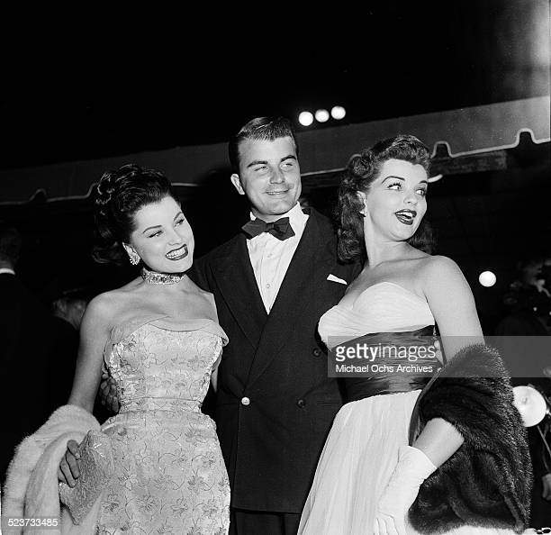 """Actress Debra Paget with Frank Griffen and Lisa Gaye attend the movie premiere of """"The Robe"""" in Los Angeles,CA."""