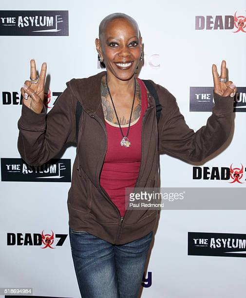 Actress Debra Wilson on the red carpet for the Premiere of Syfy's Dead 7 at Harmony Gold on April 1 2016 in Los Angeles California