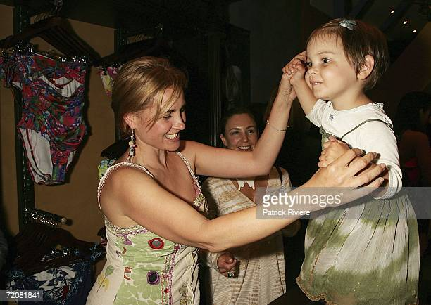 Actress Dee Smart attends with her daughter the opening of designer Jodhi Meares's latest Tigerlily swimwear store in Paddington on October 4 2006 in...