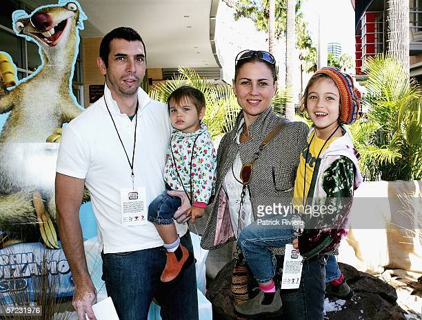 Actress Dee Smart her husband Chris Handcock and their children Zoe Hancock and Charlie Hancock attend the Sydney Premiere of Ice Age 2 at the Hoyts...