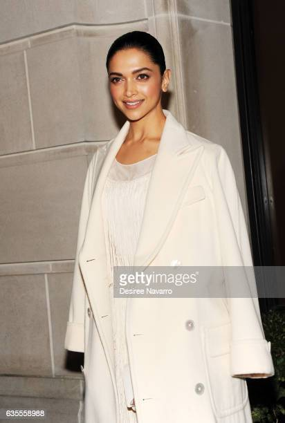 Actress Deepika Padukone arrives for the Ralph Lauren show February 2017 New York Fashion Week at the Ralph Lauren Collection Store on February 15...