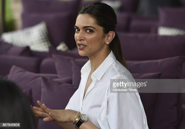Actress Deepika Padukone during an interview with Hindustan Times after she attends a session on mental health at World Economic Forum at Taj Place...