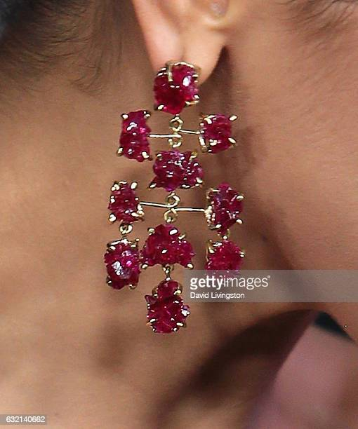Actress Deepika Padukone earring detail attends the premiere of Paramount Pictures' 'xXx Return of Xander Cage' at TCL Chinese Theatre IMAX on...