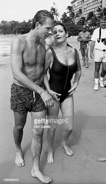 Actress Deirdre Hall and husband Michael Dubelko attend Kauai Lagoon Celebrity Sports Invitational on October 6 1988 at the Westin Kauai Resort in...
